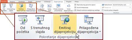 Emitiranje dijaprojekcije u grupi Pokreni dijaprojekciju na kartici Dijaprojekcija u programu PowerPoint 2010.