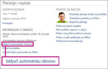 """Snimka zaslona odjeljka Podaci o obnavljanju s odabranom vezom """"Isključivanje automatskog obnavljanja""""."""