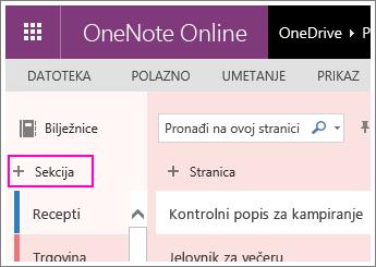 Snimka zaslona kako stvoriti novu sekciju u web-aplikaciji OneNote Online.