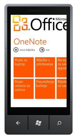 Središte OneNote Mobile 2010