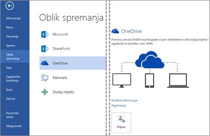 Spremanje datoteke na OneDrive