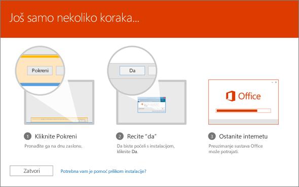 Još samo nekoliko koraka do dovršetka instalacije sustava Office
