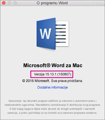 Word 2016 za Mac s prikazanom stranicom O programu Word