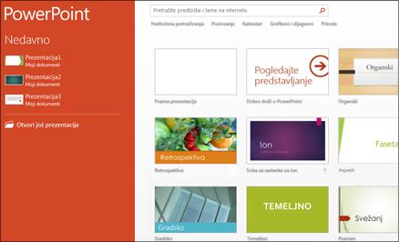 Početni zaslon programa PowerPoint 2013