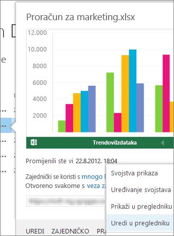 Pretpregled dokumenta sustava Office u biblioteci sustava SharePoint