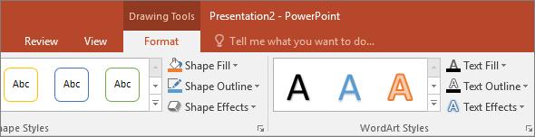 Prikaz kartice Alati za crtanje na vrpci u programu PowerPoint
