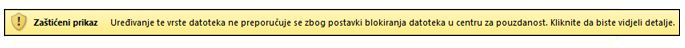Zaštićeni prikaz zbog blokiranja datoteke; korisnik može uređivati datoteku