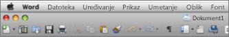 Glavno korisničko sučelje programa Word za Mac 2011