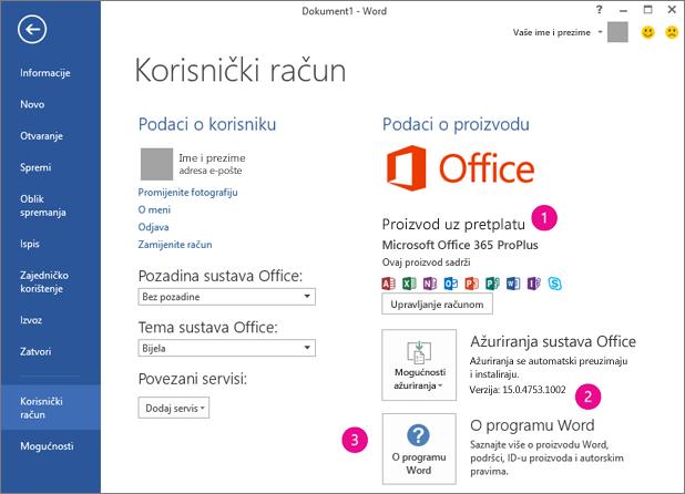 Datoteka > Račun u pretplati na Office 365