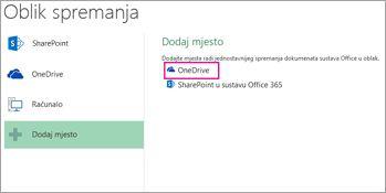 Mogućnost Spremi na OneDrive