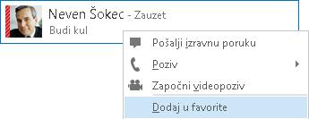 Snimka zaslona s odabranim kontaktima za dodavanje u favorite