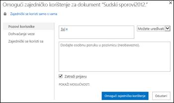 Zajedničko korištenje dokumenta sa svima pomoću dijaloškog okvira Zajedničko korištenje