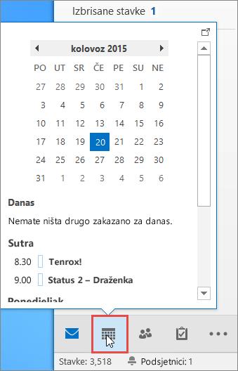Uvid u kalendar s istaknutom ikonom kalendara.