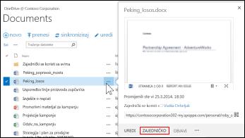 Omogućivanje zajedničkog korištenja dokumenta u biblioteci sustava SharePoint