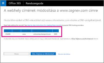 Adja hozzá ezeket a DNS-rekordokat a webhelycíme módosításához