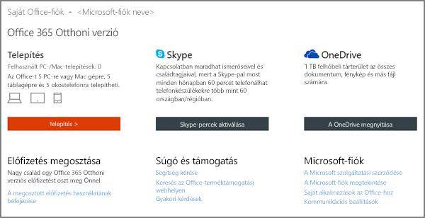 Képernyőkép a Saját Office-fiók lapról