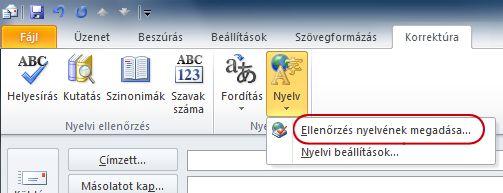 Az Outlook-üzenetek menüszalagja a Nyelv csoporttal