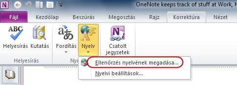 A OneNote menüszalagja a Korrektúra lap Nyelv csoportjával
