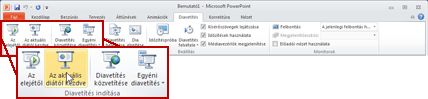 PowerPoint 2010 alkalmazás, Diavetítés lap, Diavetítés indítása csoport