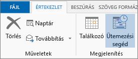 Ütemezősegéd gomb az Outlook 2013-ban