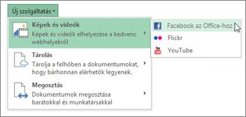 Szolgáltatás hozzáadása, például Flickr vagy Facebook for Office