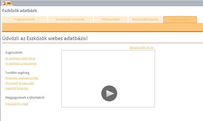 Eszközök webes adatbázis