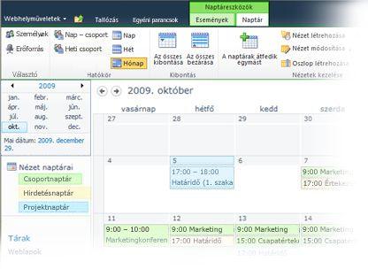 Több naptár használata a SharePoint szolgáltatásban