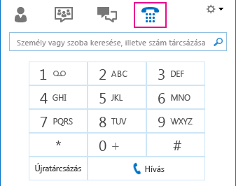 A Telefon ikon képe, a telefonálásra használható tárcsázóval