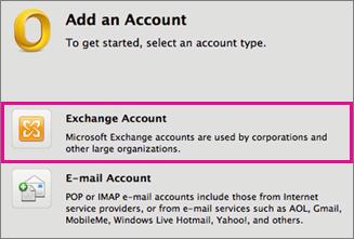 Eszközök > Fiókok > Exchange-fiók