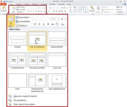 PowerPoint 2010 alkalmazás, Kezdőlap lap, Diák csoport