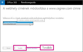 Válassza a webhelycímet, majd a Tovább elemet