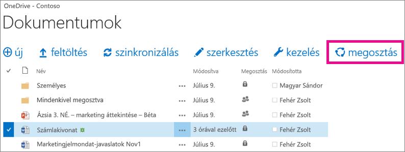 Fájl megosztása a OneDrive Vállalati verzióbeli tárból