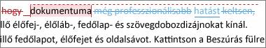 Minden korrektúra megjelenítve a dokumentumban
