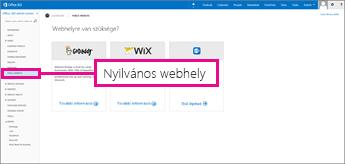 Válassza az Office 365 partnerlapján a Nyilvános webhely elemet