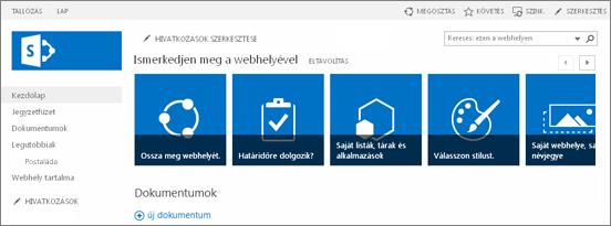 Képernyőkép: csoportwebhely a SharePoint 2013-ban