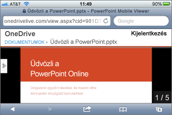 Diavetítés a PowerPoint Mobile Viewerben