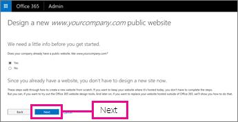 Vállalatának van már webhelye, ezért válassza a Tovább elemet