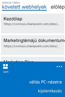 A mobilnézetről PC-nézetre váltás menüje a Windows Phone rendszerben