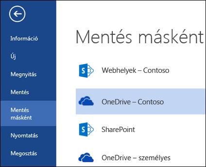 OneDrive Vállalati verziós mappa fájl megnyitása és mentése közben