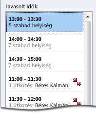 Javasolt idők ablaktábla egy értekezlet-összehívás esetén