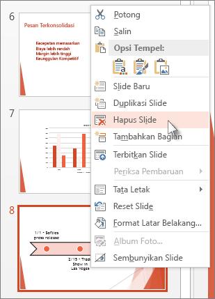 Klik kanan gambar mini slide di PowerPoint, lalu klik Hapus Slide.