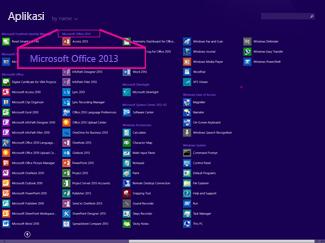 Menemukan aplikasi Office menurut nama