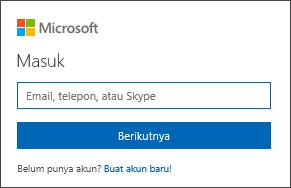 Masuk ke Office dengan alamat email dan kata sandi akun Microsoft