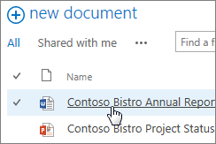 Klik sebuah dokumen untuk membukanya