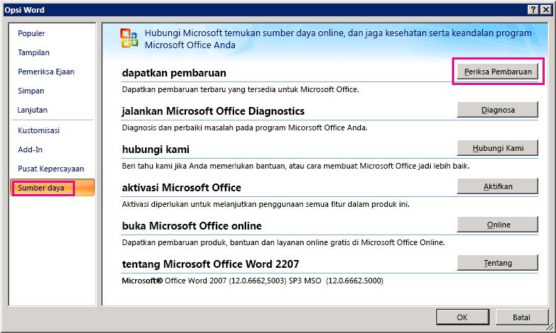 Memeriksa Pembaruan Office di Word 2007