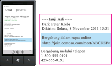 Cuplikan layar memperlihatkan permintaan Bergabung Dalam Rapat Lync di Lync untuk klien seluler