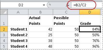 Contoh rumus untuk menghitung persentase