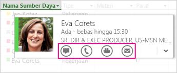 Kartu kontak Lync di Project 2013