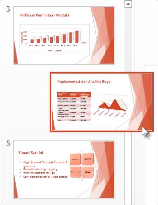 Seret slide PowerPoint ke lokasi yang baru.