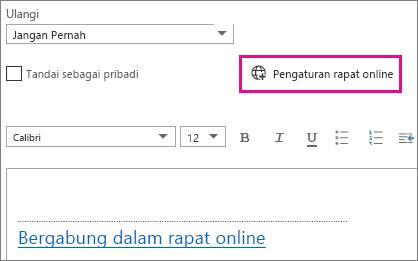 Tombol pengaturan rapat online di Outlook Web App